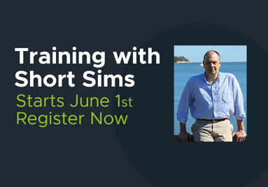 """An image with text that reads """"Training with Short Sims. Starts June first. Register now!"""" The text is set aside a photo of the instructor."""